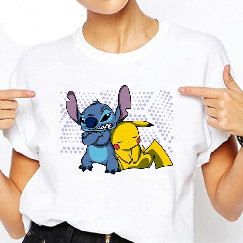 Women's Tshirt Funny Cartoon Stitch and Lilo/Pikachu/BB-8 Print T shirt Women Funny Clothes Summer Hipster White Harajuku Tshirt