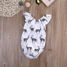 Cute Newborn Baby Girls Bodysuits Clothes Deer Short Sleeve Bodysuit Jumpsuit Cotton Baby Outfits Clothes