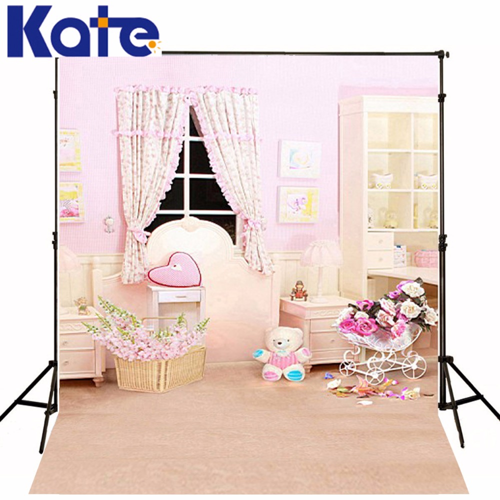 Kate 5x7ft rose chaleur intérieur arrière-plans bambou panier de fleurs arrière-plans commode armoire lampe fille photographie arrière-plans