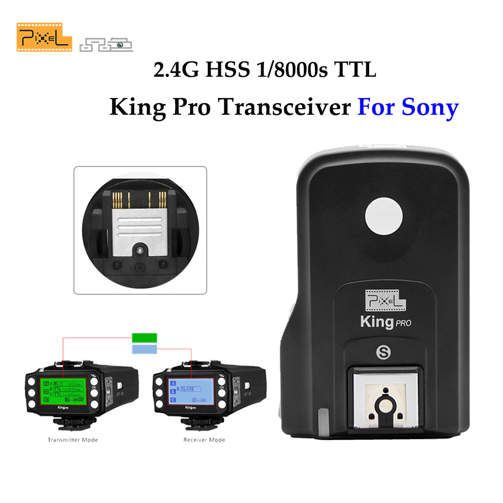 Pixel Wireless Remote Control TTL 1/8000S HSS 2.4G Flash Trigger Transceiver King Pro for Sony A7R A7RII A6300 A65 A77II Cameras pixel x800s standard gn60 hss ttl flash speedlite 2pcs king pro 2 4g flash trigger transceivers for sony a7 a7s a7r a7rii
