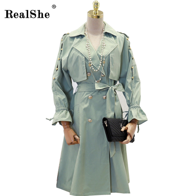 RealShe Women Trench Coat Casual Turn-down Collar Long Sleeve Trench Spring Autumn Long Coats Double Breasted Windbreaker Coat