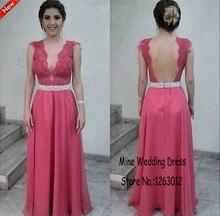 Durchsichtig V-ausschnitt exquisite blumen Applique backless Abendkleid A-line Rose Chiffon Promkleider vestidos cortos de