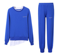 Free Shipping High Quality 2 Pcs Tracksuits Round Neck Pullover With Long Pants Casual Workout 2