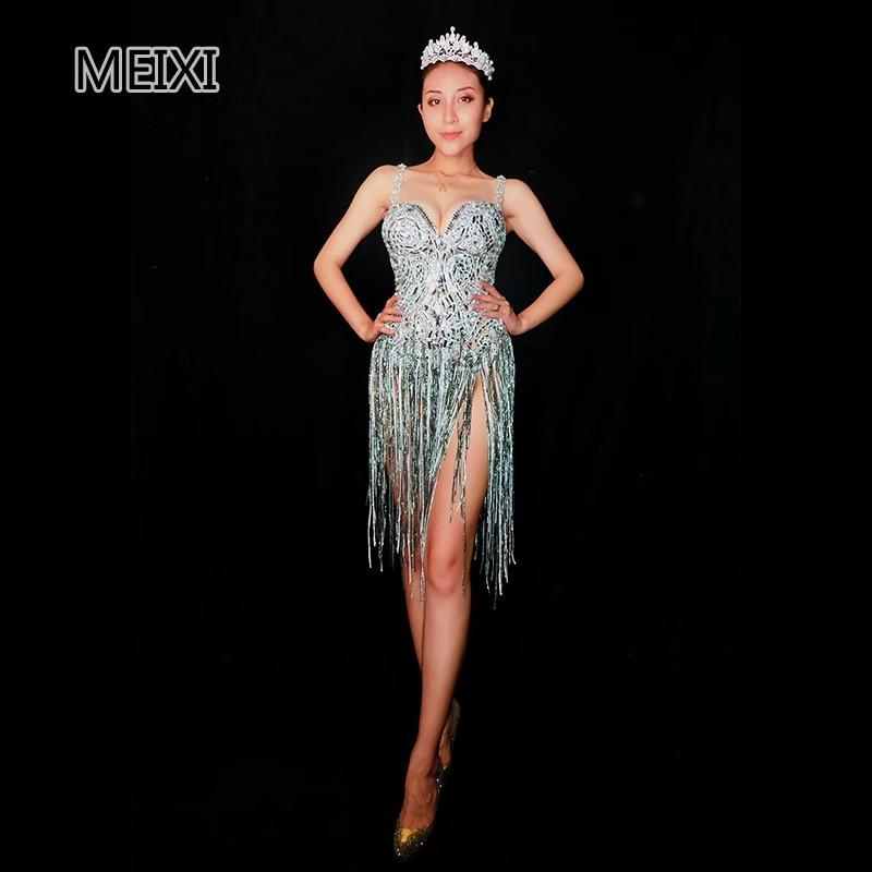 GAGA's Sexy Sparkly Silver Deep V Slings Fringed Bar Party Concert Singer Dancer Costume