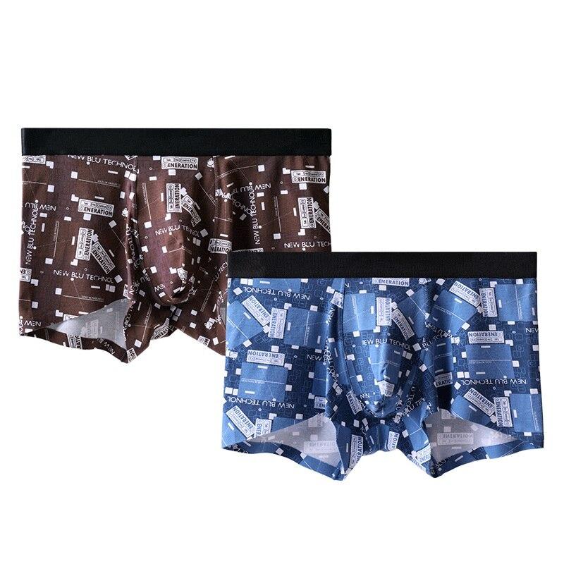 Buy Ice silk Boxers summer print pandex men boxer shorts 3D Crotch Nylon trunks Underwear Shorts M-2XL 2pcs/lot for only 16.9 USD