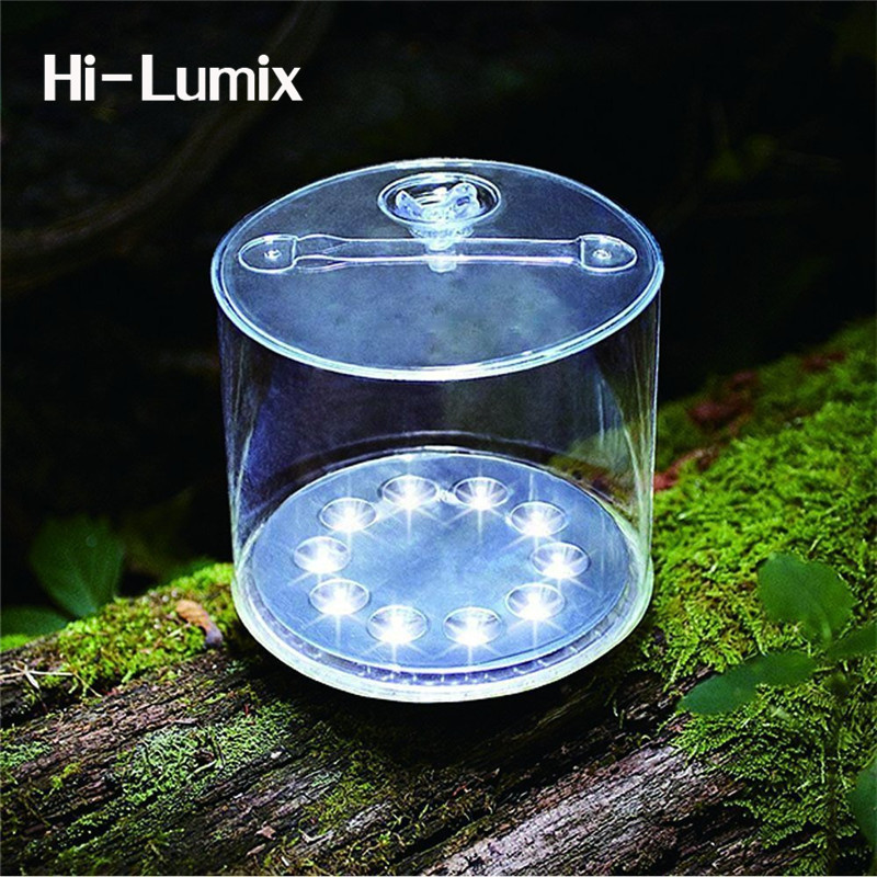 Hi-Lumix 10leds Inflatable Solar Lamp Cylindrical Foldable Camping Light Outdoor Portable Emergency Light For Hiking Fishing