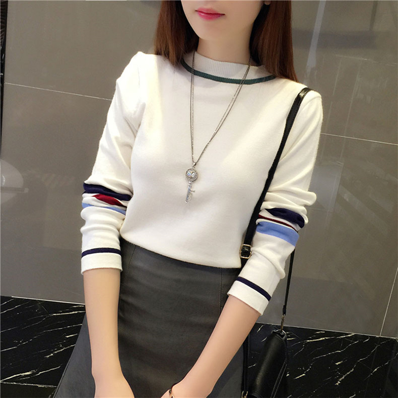 Knitted Sweater Pullovers Tops Spring Colorblock Long-Sleeve Basic White Black Khaki title=