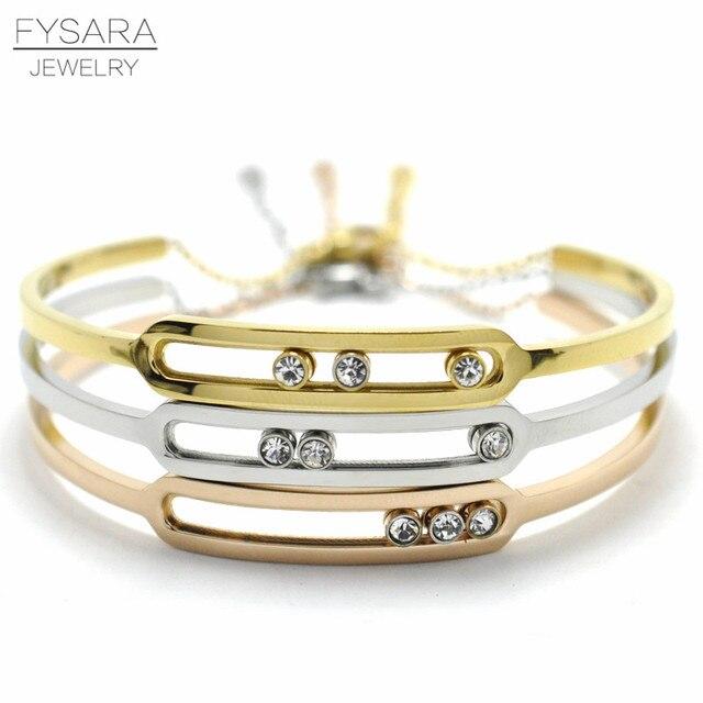 cd983c0bae1 FYSARA Luxury Brand Turnable Slide CZ Crystal Bracelet U Buckle Bangle Link  Chain Bracelets for Women Men Trendy Cuff Bracelets