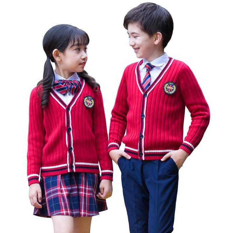 Kids Formal British Style Girls Boys School Uniforms Shirt + Sweater + Pant Tutu Skirt + BowTie Set Performing Suit Costume F68
