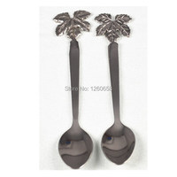 Stainless Steel Grape Leaf Teaspoon Coffee Spoon Set 2 Pieces