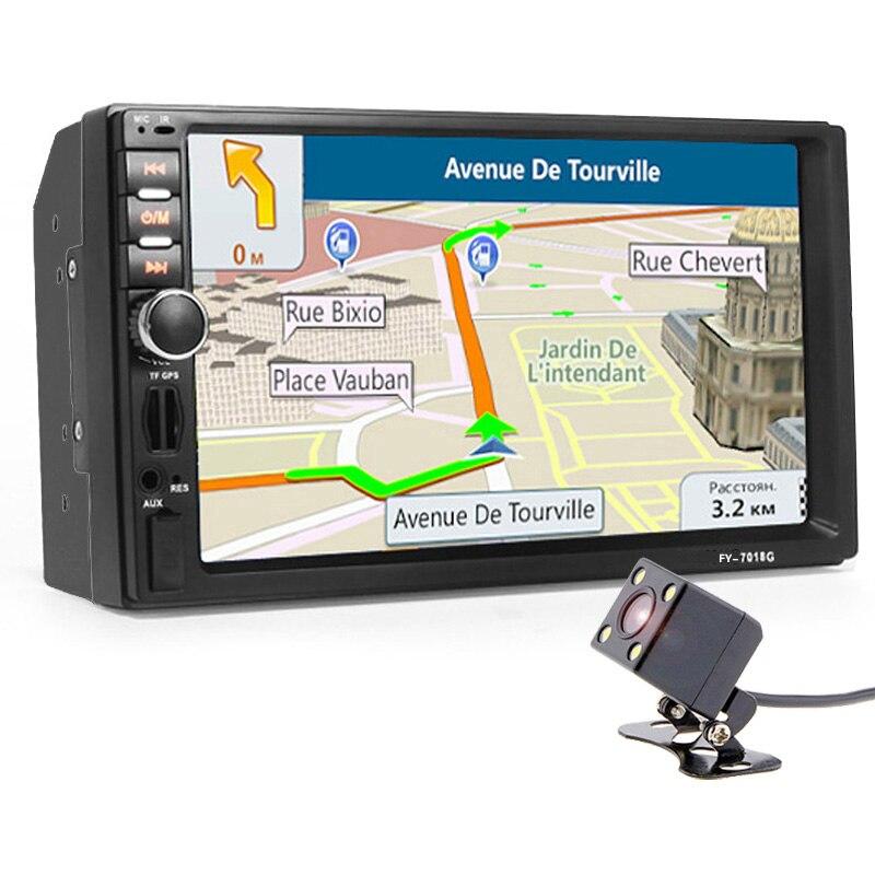 2 דין מולטימדיה לרכב נגן + GPS ניווט + מצלמה מפת 7 ''HD מסך מגע Bluetooth Autoradio MP3 MP5 וידאו סטריאו רדיו לא DVD