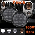 "For Jeep Wrangler JK TJ LJ LJ Harley Davidson Hummer 2x7""Inch 105W LED Headlight Round  with White DRL and Yellow Turn Signal"