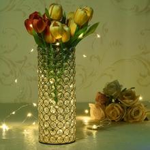 مزهريات زجاجية حوامل شموع اسطوانة كريستال للديكور المنزلي قطع مركزية لطاولات الأفراح صناعة يدوية