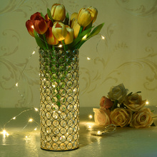 Crystal Cylinder Glass Vases Candle Holders for Home Wedding Table Centerpieces Decoration Handmade