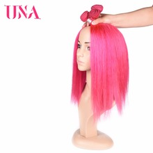 UNA HUMAN HAIR Pre-Colored #Pink Brazilian Straight Hair 3 Bundles Deal 100% Human Non-Remy