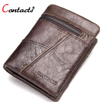 CONTACT S 2017 Genuine Leather Men Wallet Brand Crazy Horse Leather Purse Zipper Coin Pocket Vintage