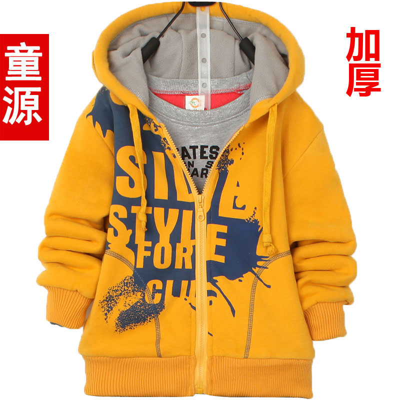 2015 Autumn Winter male child letter printed sweatshirt outerwear plus velvet thickening hoodies