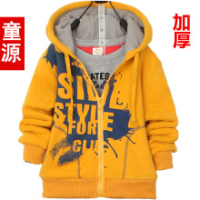 2015 Autumn Winter male child letter printed sweatshirt outerwear plus velvet thickening hoodies