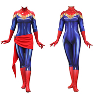 Cos Marvel Super Heroes Captain Marvel Ms Marvel Carol Danvers Jumpsuit Catsuit Sexy Cosplay Costumes Halloween Tight Bodysuit