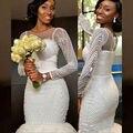 Длинные Рукава Невесты Из Бисера Жемчуг Свадебные Платья 2017 Западных Стран Африки Свадебное Платье Русалка Designer Robe De Mariage