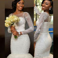 Long Sleeves Bride Beaded Pearls Wedding Dresses 2017 Western Country African Wedding Gown Mermaid Designer Robe De Mariage