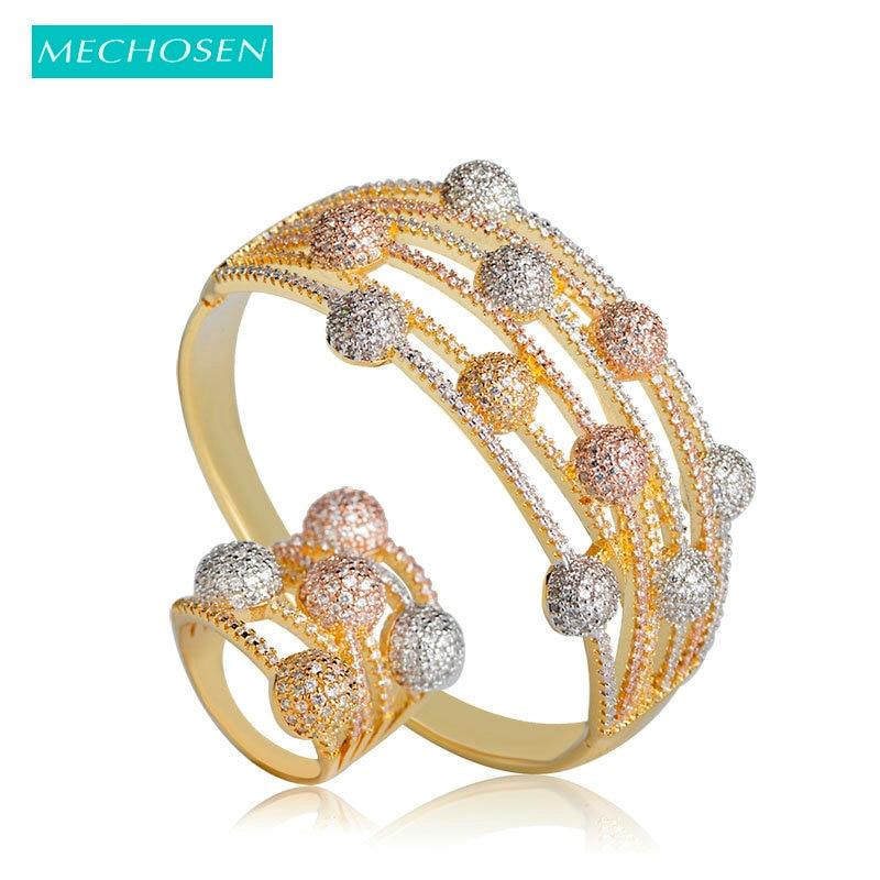 MECHOSEN Luxury Copper Zirconia Width Bangles Ring Set For Women Lady Nigerian Wedding Jewelry Sets Multilayer Crystal Bijoux