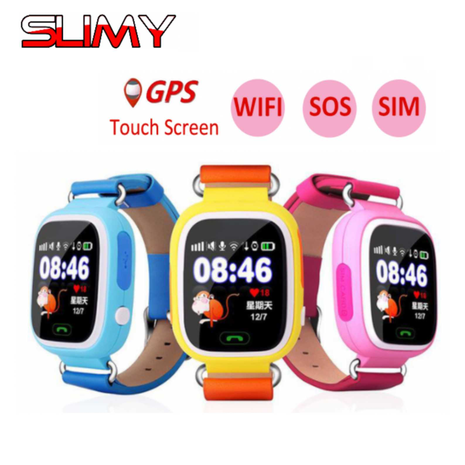Visqueux Écran Tactile WIFI Q90 GPS Montre Smart Watch pour enfants Enfant positionnement Mode SOS Smartwatch PK Q529 Q50 Q60 Android IOS téléphone