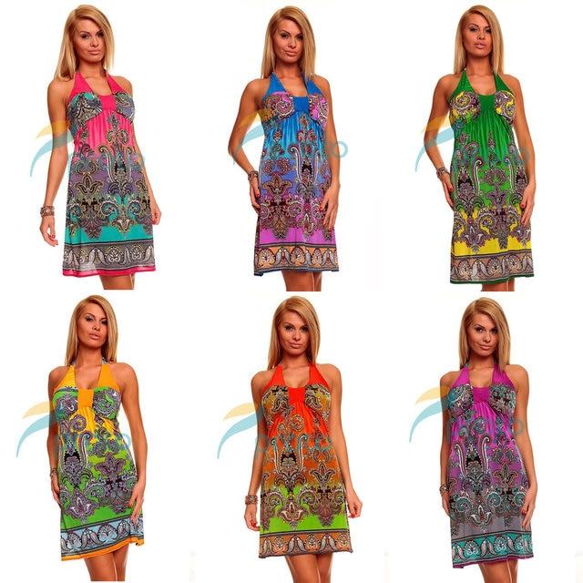 Fedex Freeshipping 20pcs/lot Wholesale 2013 Fashion Printed Halter Boho Beach Dress Summer Casual Plus Size Dress 4144