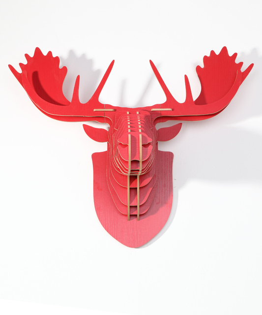 Nodic Europe Style Assembly Carved Wooden Reindeer Head Hanging Wall