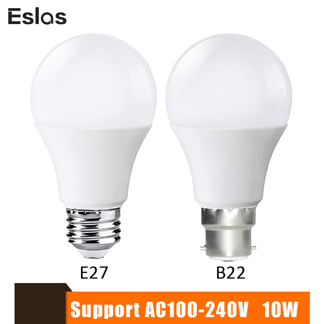 Eslas LED Lamp Lampen E27 B22 110 V 220 V 240 V Slimme Lamp 10 W 1000LM Super Helderheid 6500 K LED Bombilla Spotlight