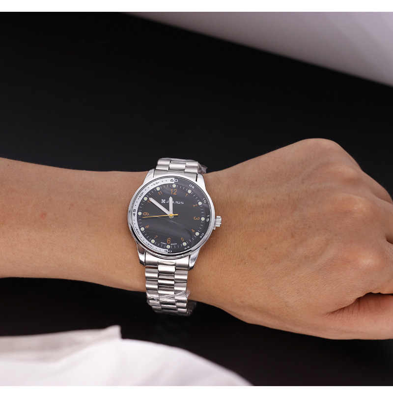 El mejor reloj de pulsera para mujer Julius hombres Homme moda Retro horas vestido de acero inoxidable de cuero para hombre cumpleaños regalo de Navidad para padre