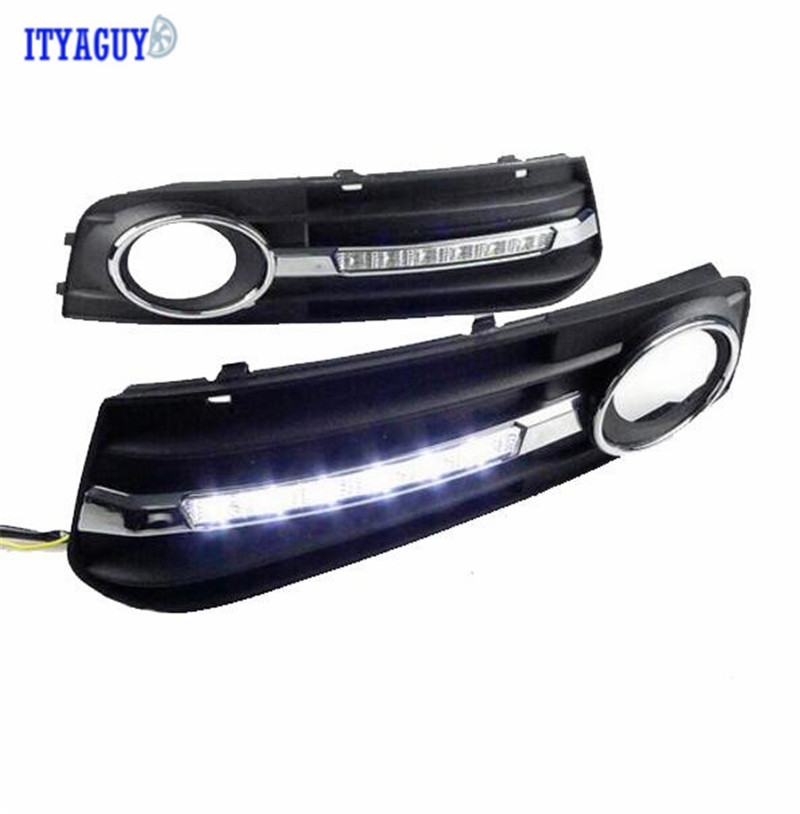 High Quality For Audi A4L 2009 2010 2011 2012 LED DRL Daytime Running Ligh Front Fog Lamp Cover hole drl daytime running lights for audi a4 b8 2009 2010 2011 2012 auto led day driving lamp with fog lamp hole free shipping