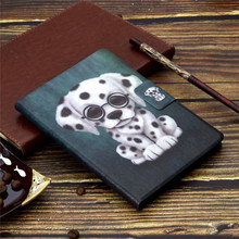 CartoonTablet Case Voor Samsung GalaxyTab EEN 8.0 inch T380 T385 SM-T380 Stand Flip Folio Cut Owl Dog Cover With Card Slots