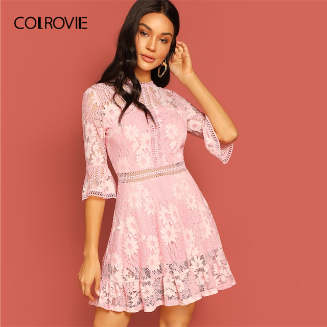 37cccc233c5 COLROVIE Pink Appliques Bell Sleeve Elegant Lace Dress Women Clothing 2019  Spring Fashion Korean Ladies Sexy Party Short Dress