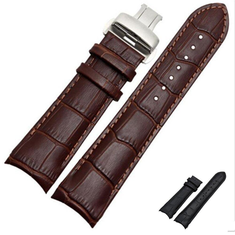 Extrémité incurvée Bracelet en cuir véritable 22mm 23mm 24mm pour Tissot Couturier T035 Bracelet de montre en acier boucle Bracelet Bracelet marron