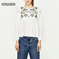 VOGUE N New Womens Ladies Spring Summer Floral Embroidered Hollow Short Sleeve Blouse Shirt Tops Navy