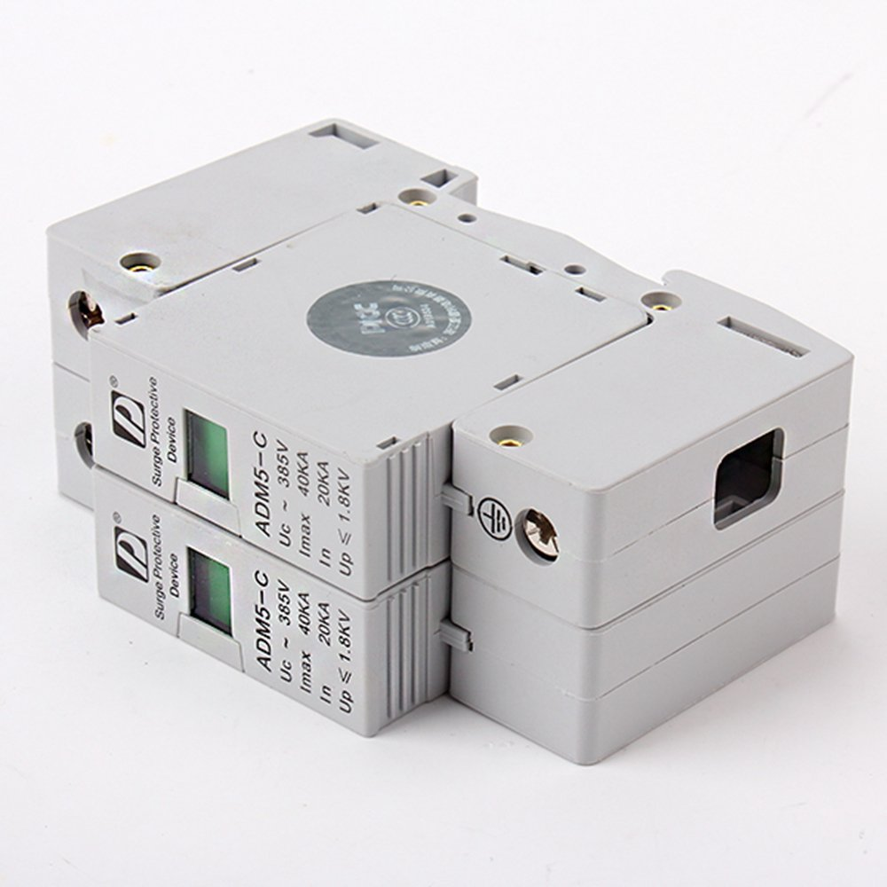 2P 20~40KA Din Rail Surge Protection Over Voltage Lightning Arrester SPD White spd surge thunder lightning protection device arrester 2p 40 80ka din rail mount
