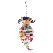 Pet Parrot Toy Chewing Bite Strands Colorful Wooden Beads Bird Parakeet Hanging Cage