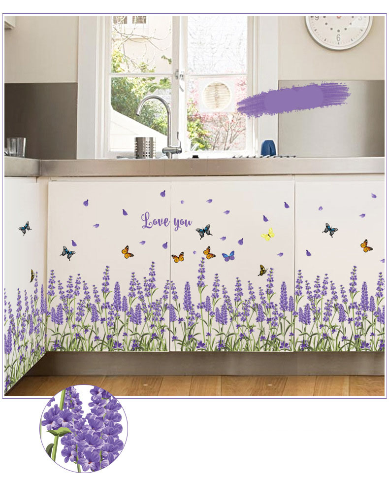 Warm lavender waistline affixed to the bedroom corridor skirting line wall stickers school classroom decoration stickers