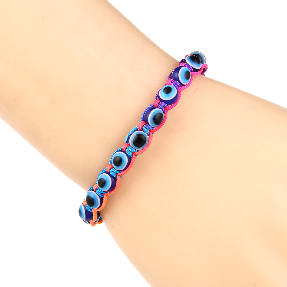 Turkish Jewelry Handmade Blue Lucky Eye Bracelet for Women 2019 Adjustable Rope Woven Braided Bead Bracelets