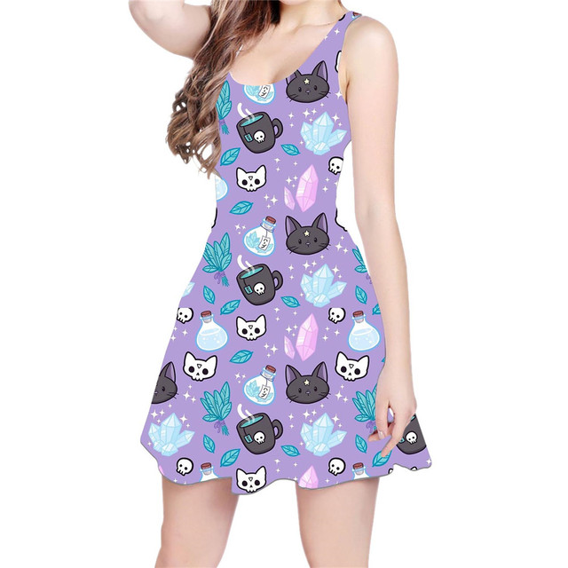 c03ae8e74e Cute Cats Kittens Funny Bears Galaxy 3D All Over Print Skater Dress Hipster  Fashion Women Clothes