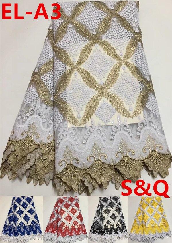 5 cantieri ultime africano lacci 2018 bianco tessuto africano del merletto francese di alta qualità nigeriano tessuti di pizzo per il vestito da sposa EL A3-in Pizzo da Casa e giardino su  Gruppo 1