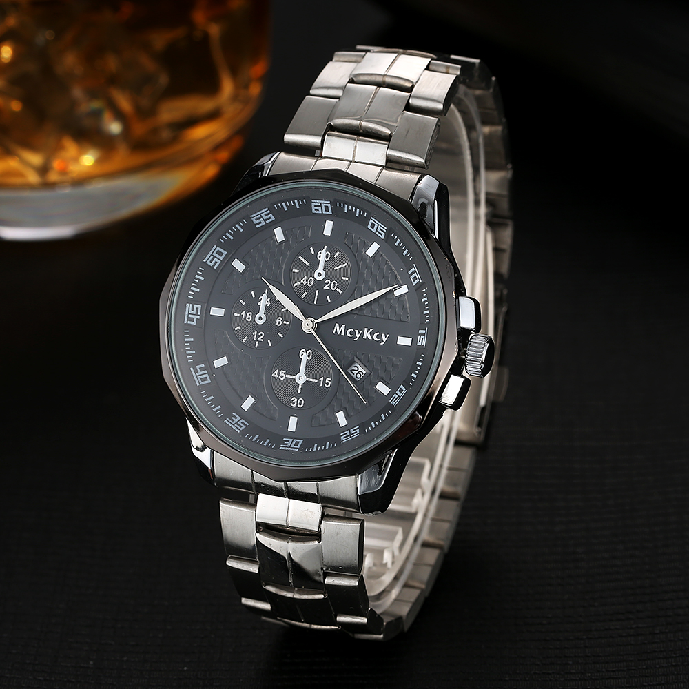 McyKcy Brand Men Watch 2017 New Arrive Stainless Steel Quartz Wrist Watch Luxury Business Dress Men Big Dial Male Watch MY010