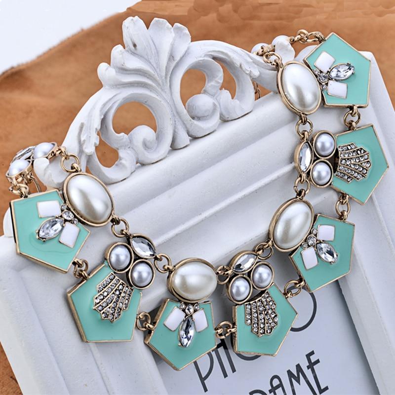 Marte&Joven Vintage Blue Enamel Geometric Pendant Chokers Necklaces for Women Je