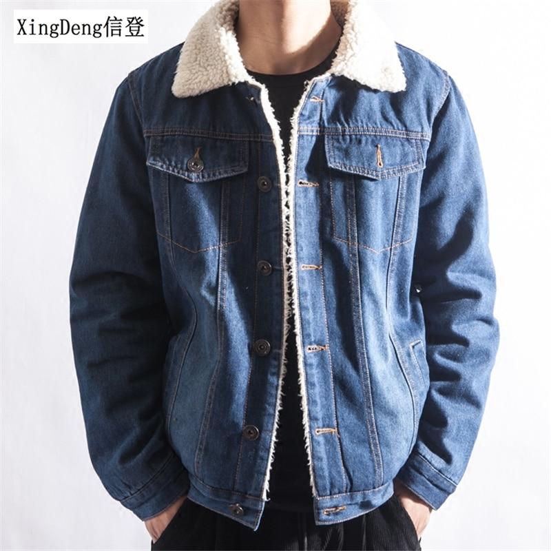 XingDeng 2020 Men Winter Fashion Cowboy Jacket Trendy Warm Fleece Denim Jacket Top Coat Mens Jean Jackets Outwear Male Plus 2XL