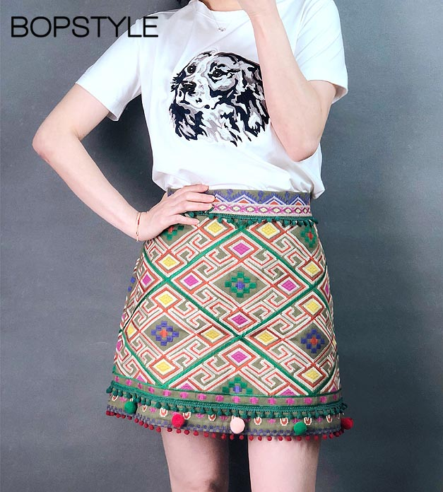 Fall 2018 Newest Women Female High Waist Embroidery A line Short Mini Skirt With Geometric Patterns
