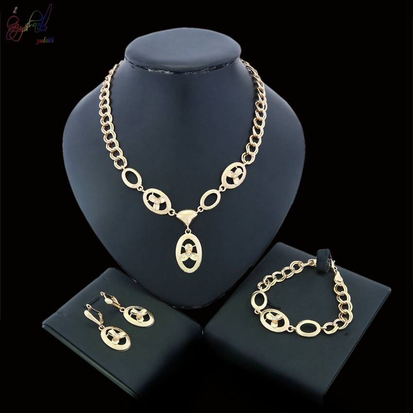 YULAILI 2018 Free Shipping Alloy Jewelry Set Necklace Earring Ring 18 Karat Gold Jewelry Accessories цена и фото
