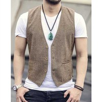 High Fashion Formal Slimming Vest Linen V Neck Casual Blue Waistcoat Wedding Office Sleeveless Jacket Suit Vest Male Clothes