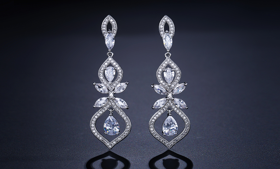 ZAKOL Luxus CZ Wedding Jewelry Chandelier Dangles Drop Earrings For Noble Women Anniversary FSEP308 6