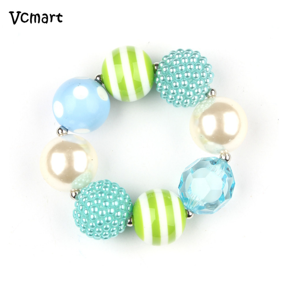 Easter Christmas Gift 3Pcs Spring Pastel Colors Chunky Beaded Bubbelgum Bracelet Kids Grils Easter Party Jewelry